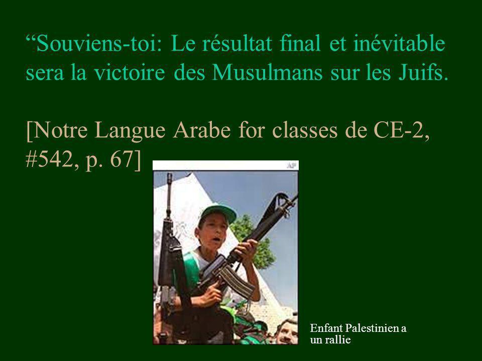 Souviens-toi: Le résultat final et inévitable sera la victoire des Musulmans sur les Juifs. [Notre Langue Arabe for classes de CE-2, #542, p. 67]